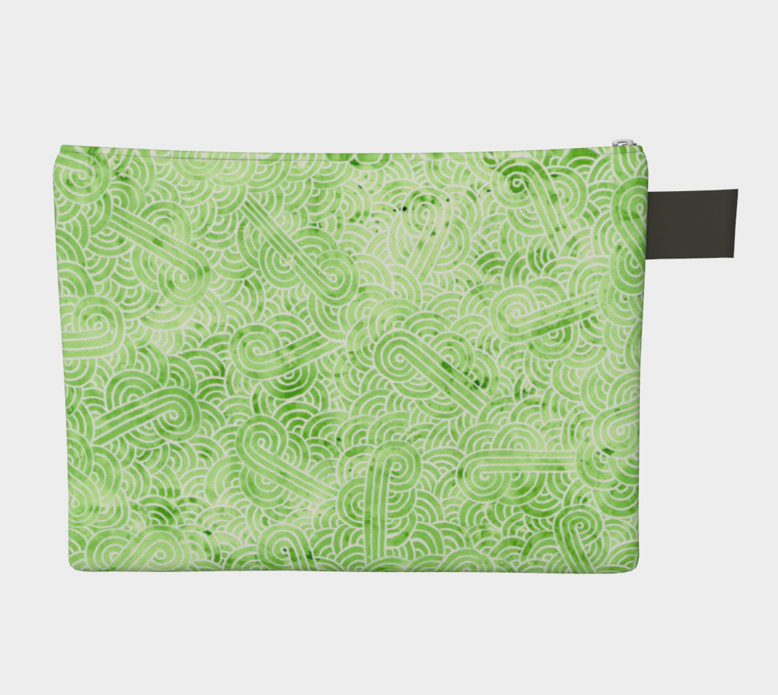 Greenery and white swirls doodles Zipper Carry All Pouch preview #2