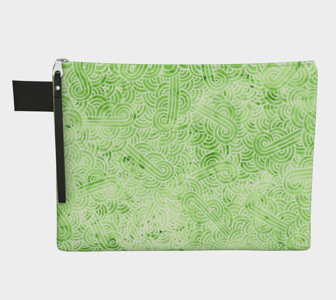 Greenery and white swirls doodles Zipper Carry All Pouch preview #1