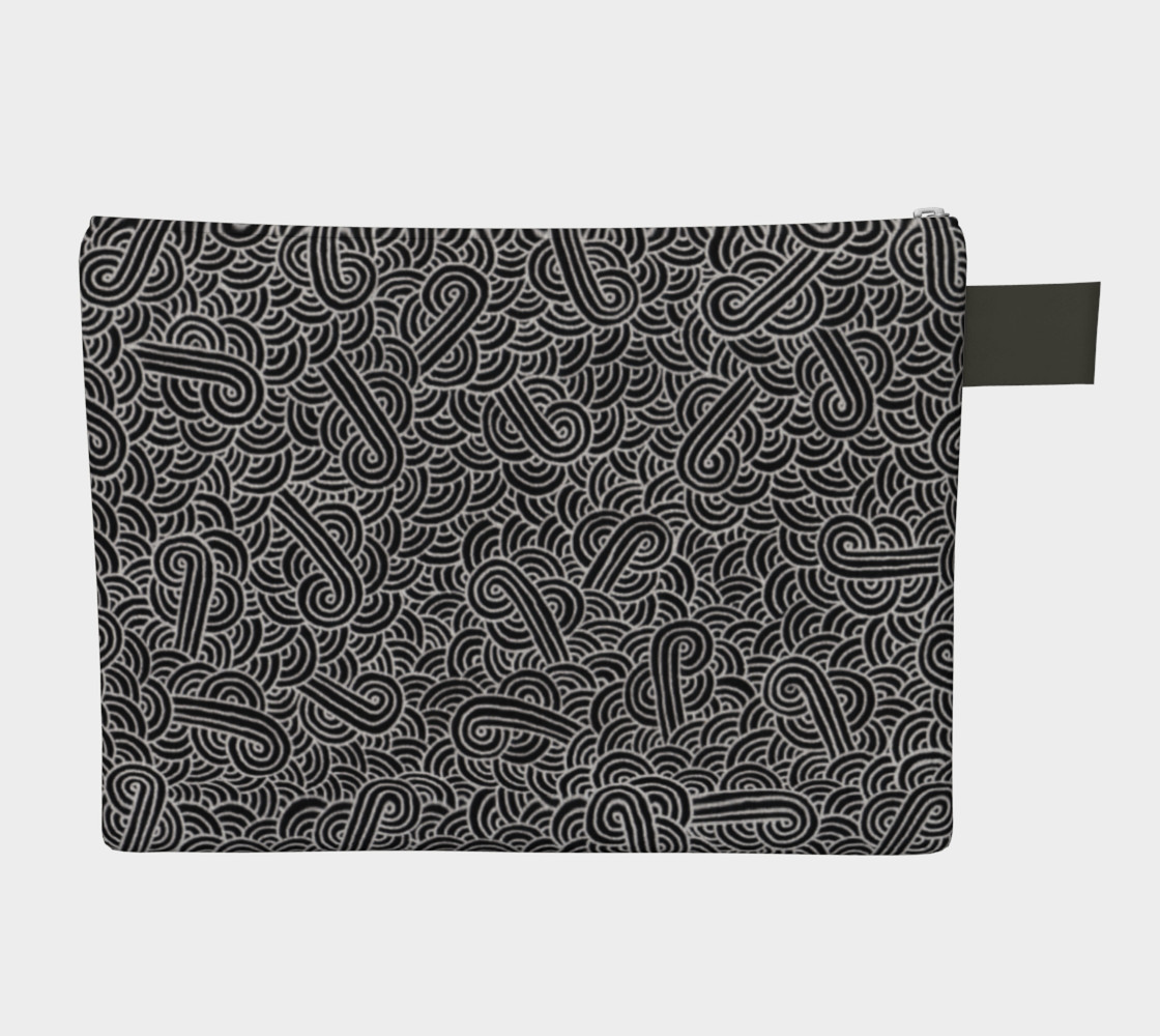Faux silver and black swirls doodles Zipper Carry All Pouch preview #2
