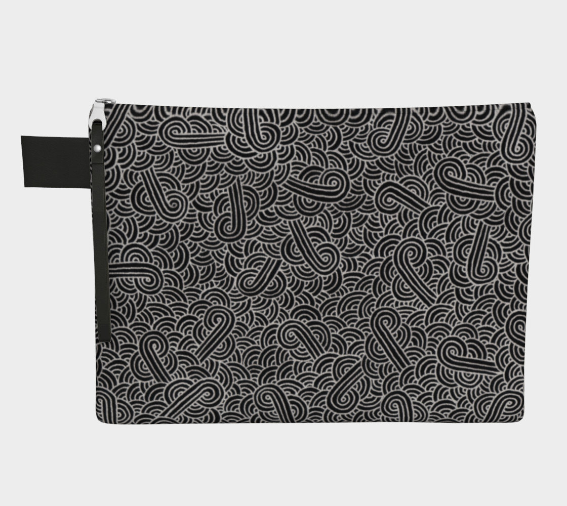 Faux silver and black swirls doodles Zipper Carry All Pouch preview #1