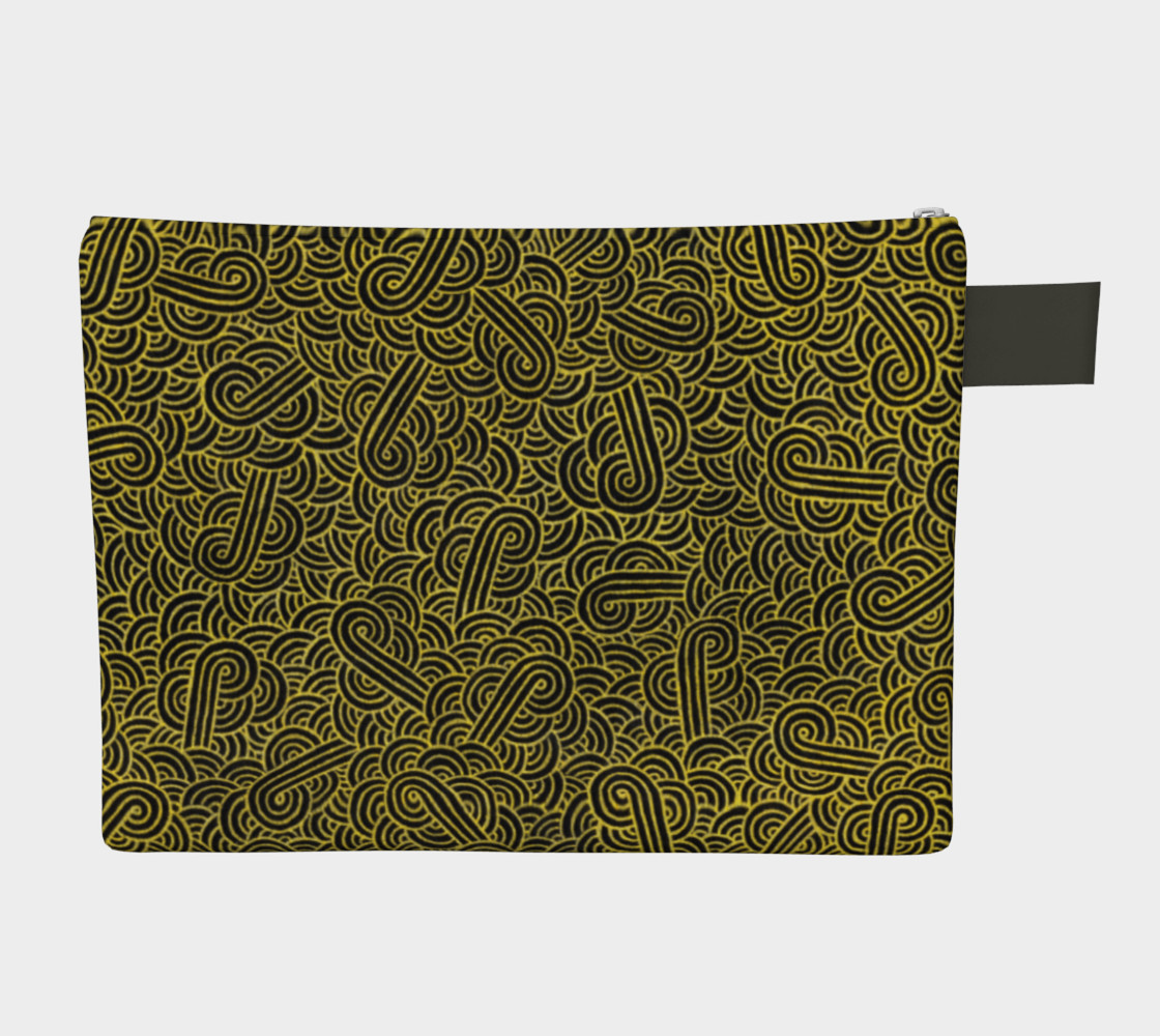 Faux gold and black swirls doodles Zipper Carry All Pouch preview #2