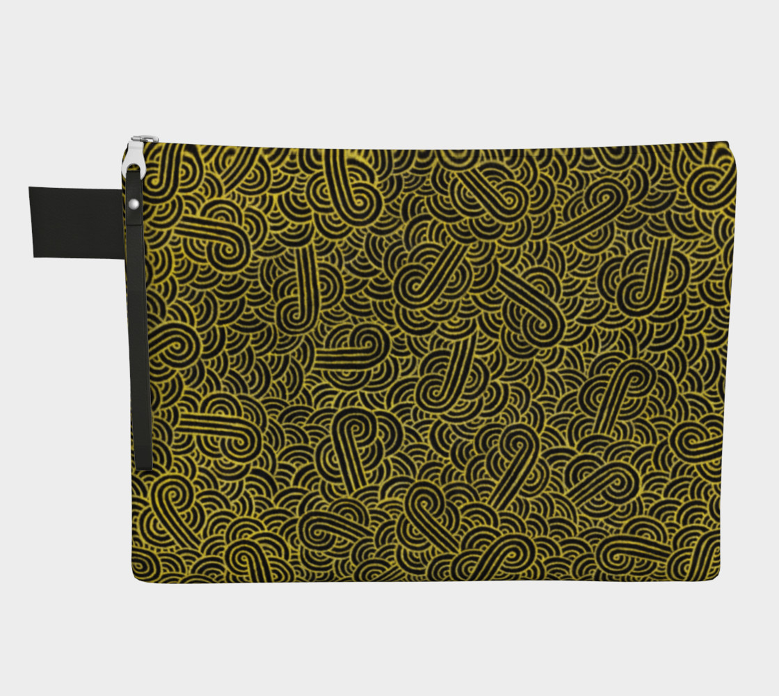 Faux gold and black swirls doodles Zipper Carry All Pouch preview #1