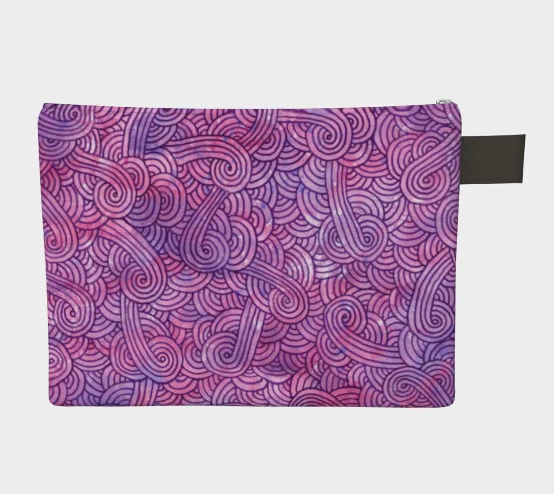 Neon purple and pink swirls doodles Zipper Carry All Pouch preview #2