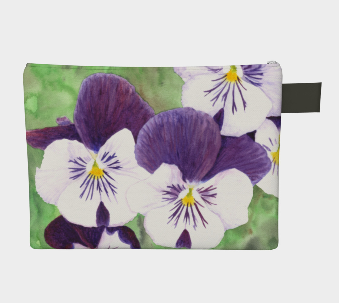 Purple and white pansies flowers Zipper Carry All Pouch preview #2