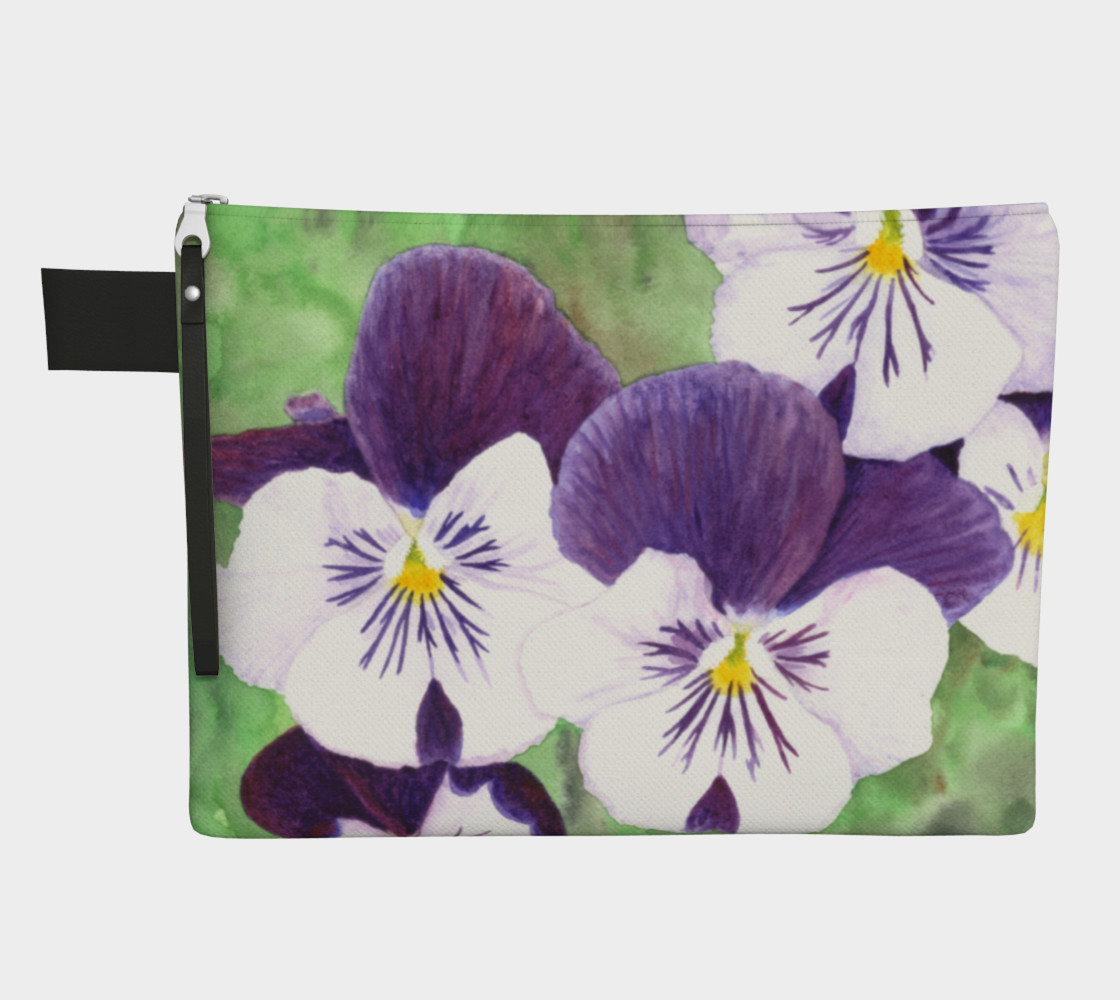 Purple and white pansies flowers Zipper Carry All Pouch preview #1