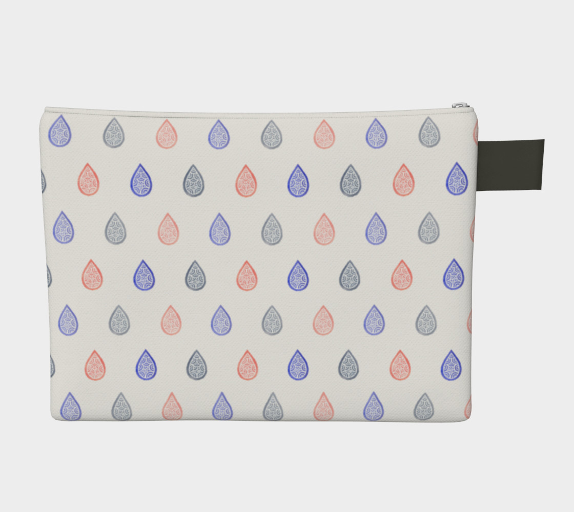 Rose quartz, lilac grey and serenity blue raindrops Zipper Carry All Pouch preview #2