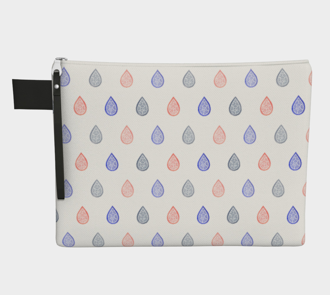 Rose quartz, lilac grey and serenity blue raindrops Zipper Carry All Pouch preview #1