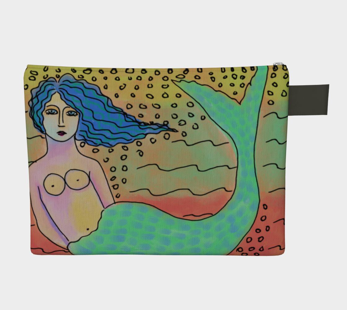 Aperçu de Mermaid with Blue Hair Abstract Art Clutch Bag #2