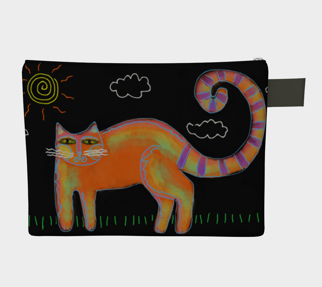 Orange Cat with Sun Abstract Art Clutch Bag preview #2
