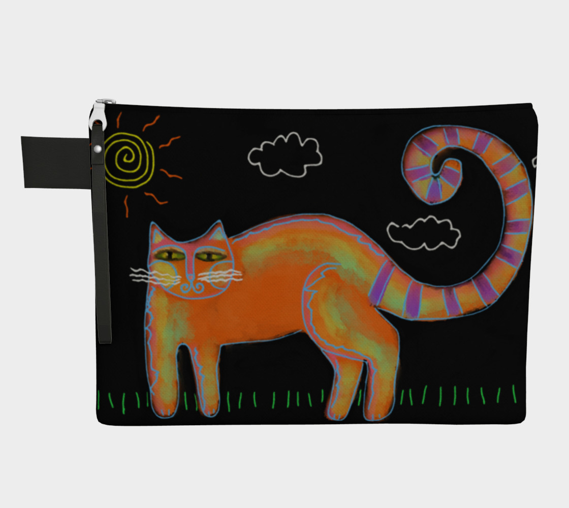 Orange Cat with Sun Abstract Art Clutch Bag preview #1