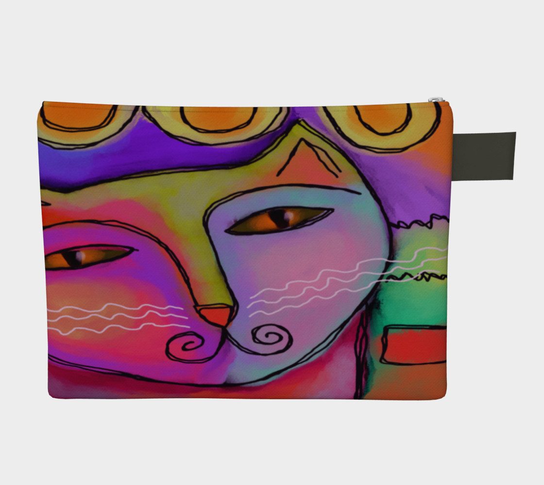 Aperçu de Colorful Abstract Cat Clutch Bag #2