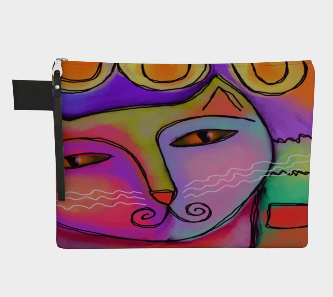 Aperçu de Colorful Abstract Cat Clutch Bag #1