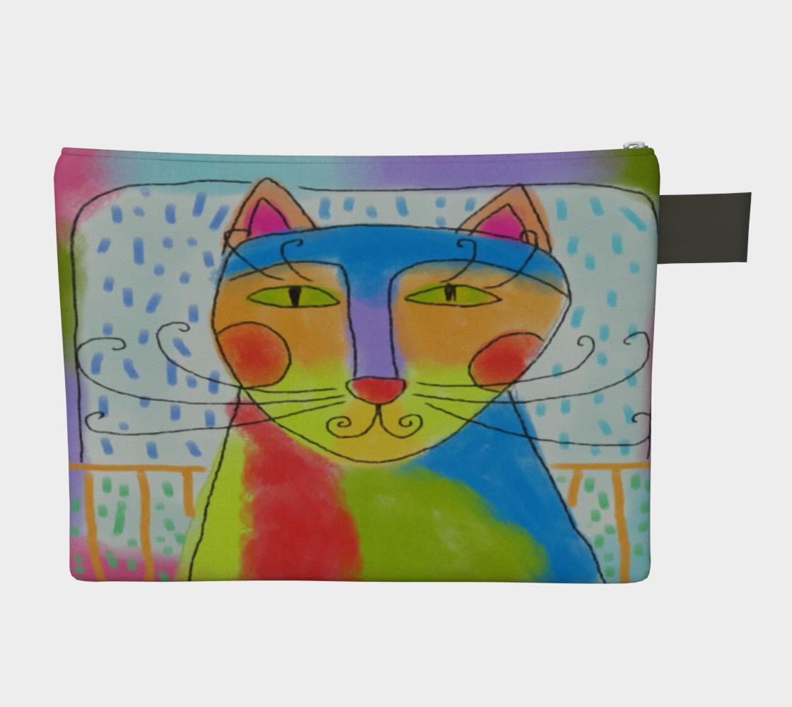 Aperçu de Funky Cat Abstract Art Clutch Bag #2