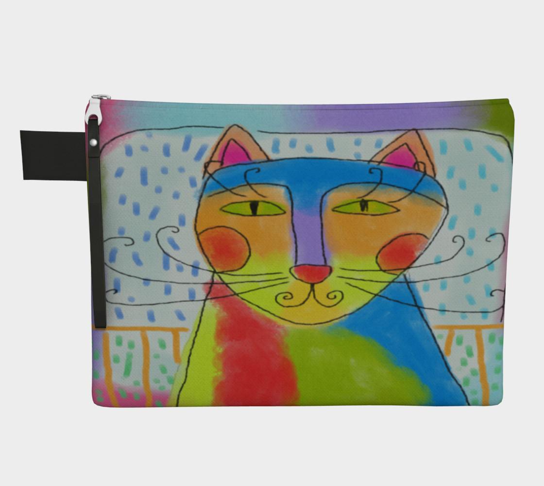 Aperçu de Funky Cat Abstract Art Clutch Bag #1