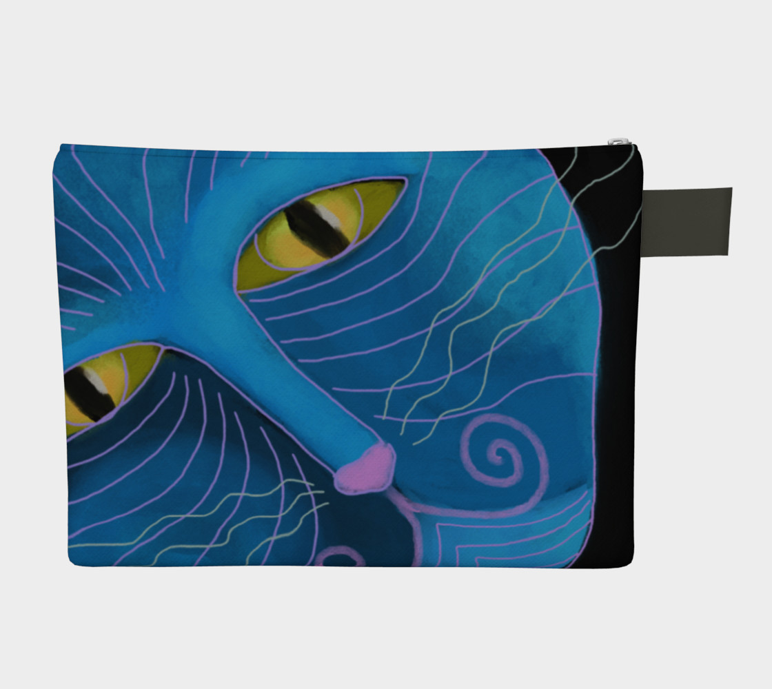 Blue Cat Face Abstract Art Clutch Bag preview #2