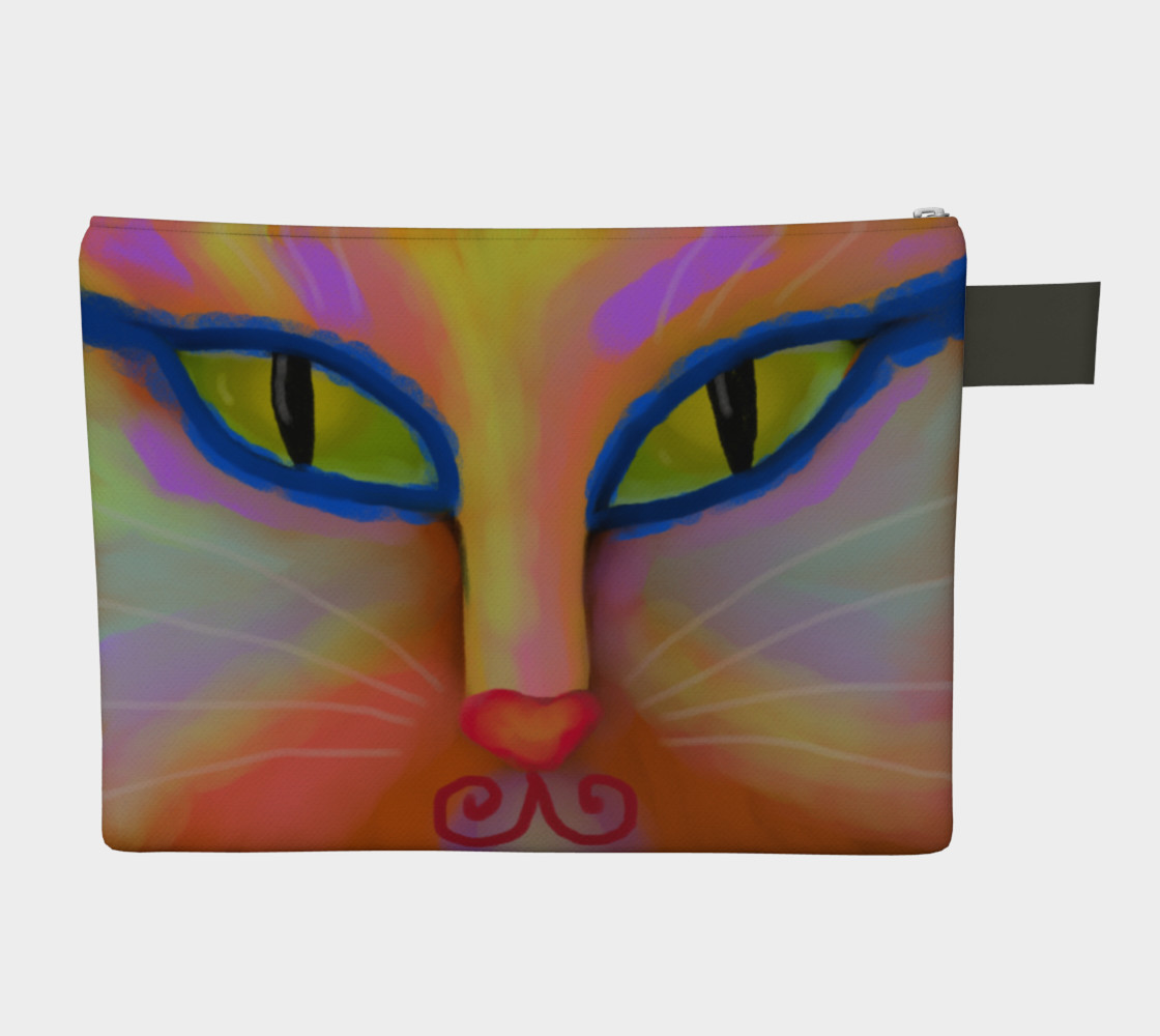 Colorful Cat Face Abstract Art Clutch Bag Miniature #3