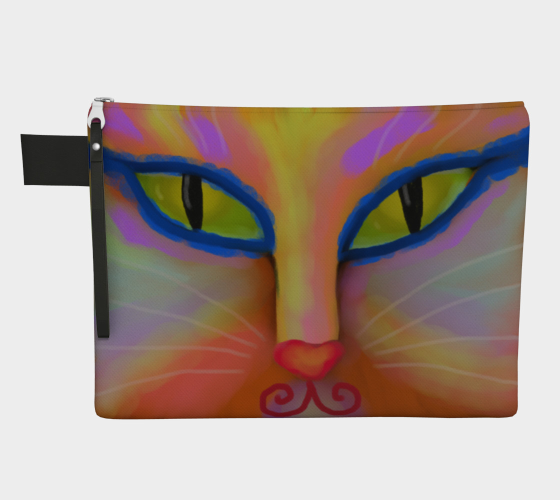 Colorful Cat Face Abstract Art Clutch Bag Miniature #2