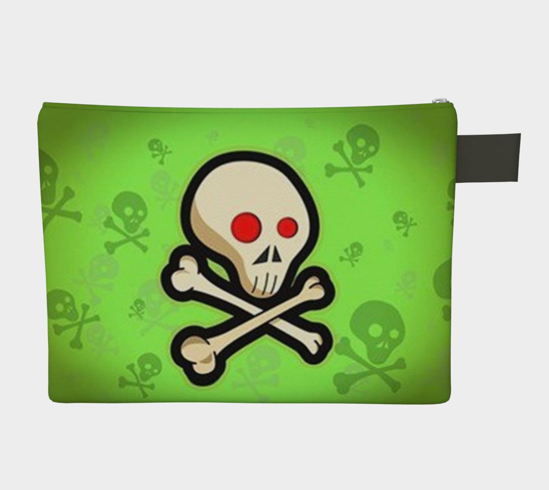 Cartoon Skull On Green Zipper Carry All bag preview #2