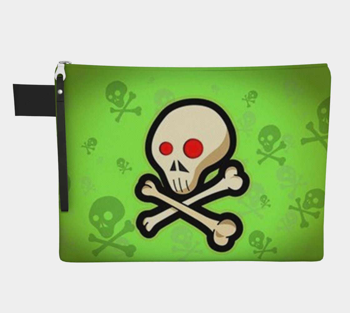 Cartoon Skull On Green Zipper Carry All bag preview #1
