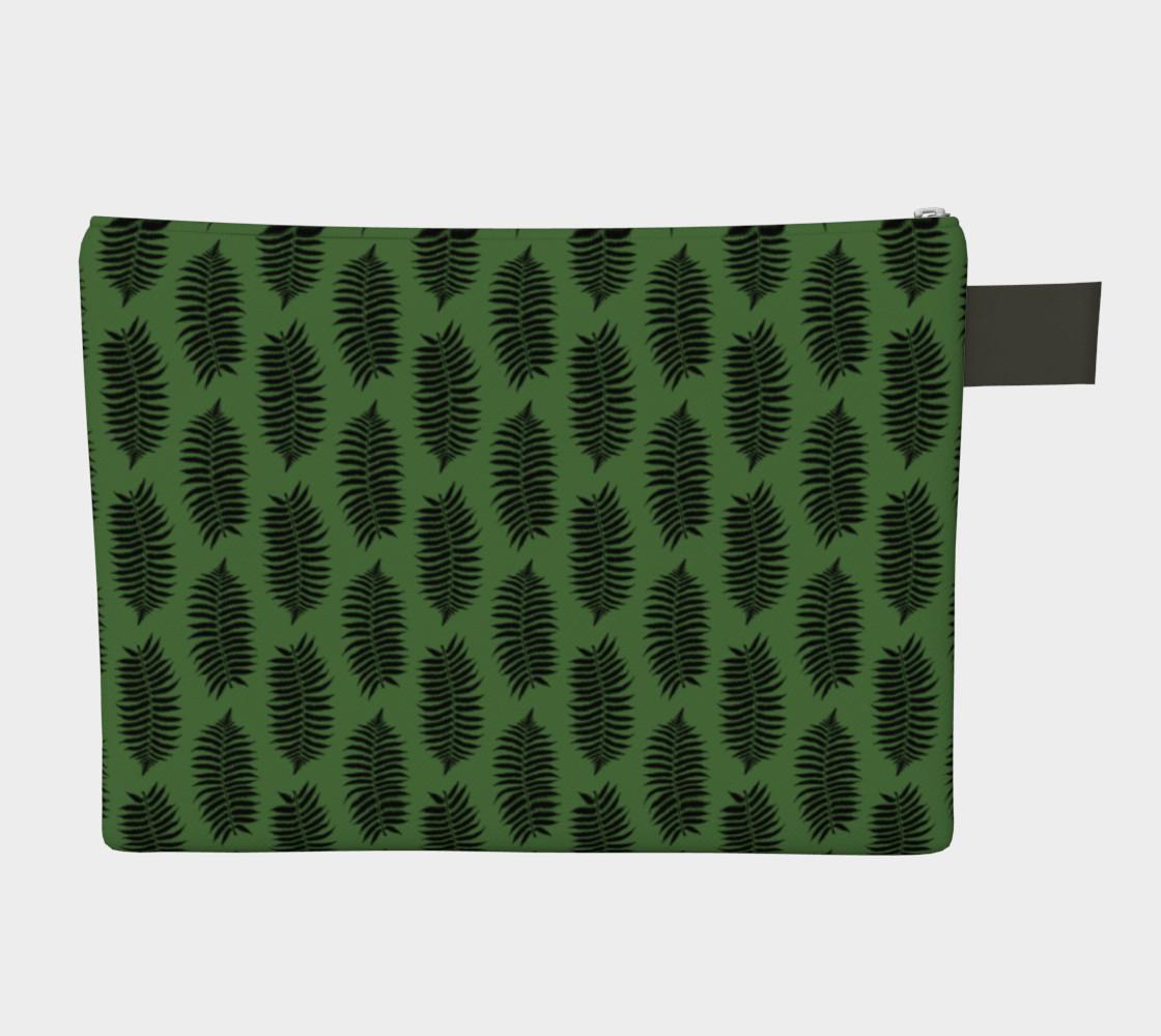 Aperçu de Black Fern Leaves on Fern Green #2