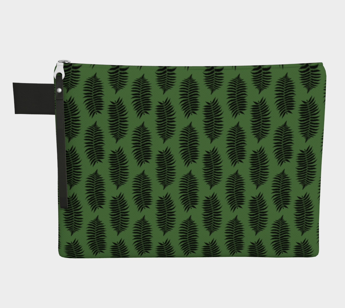 Aperçu de Black Fern Leaves on Fern Green #1