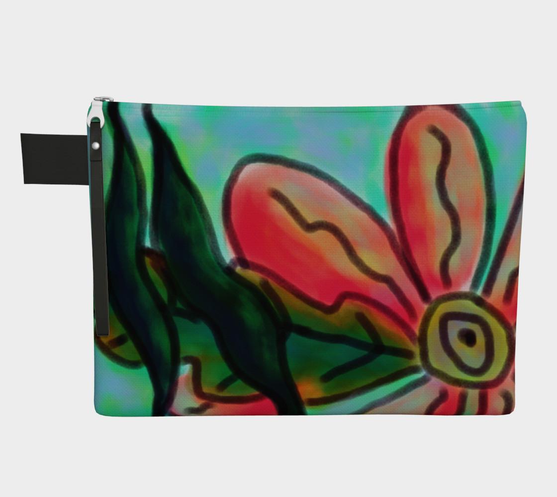 Aperçu de Funky Pink Flower Abstract Art Clutch Bag #1