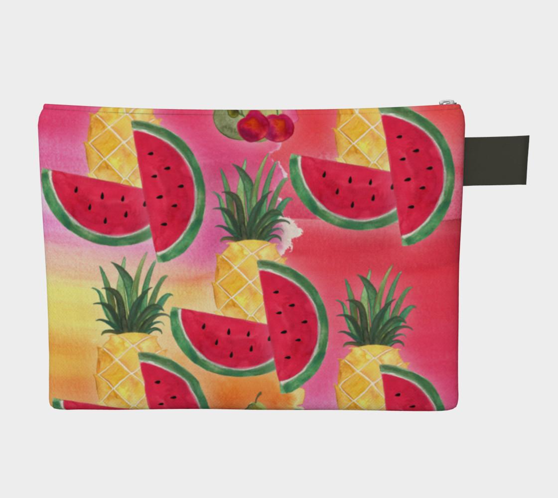 Aperçu de Watercolor Fruit Watermelon Pineapple Pear Cherry Carry-All Bag #2