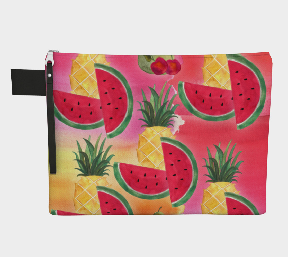 Aperçu de Watercolor Fruit Watermelon Pineapple Pear Cherry Carry-All Bag #1