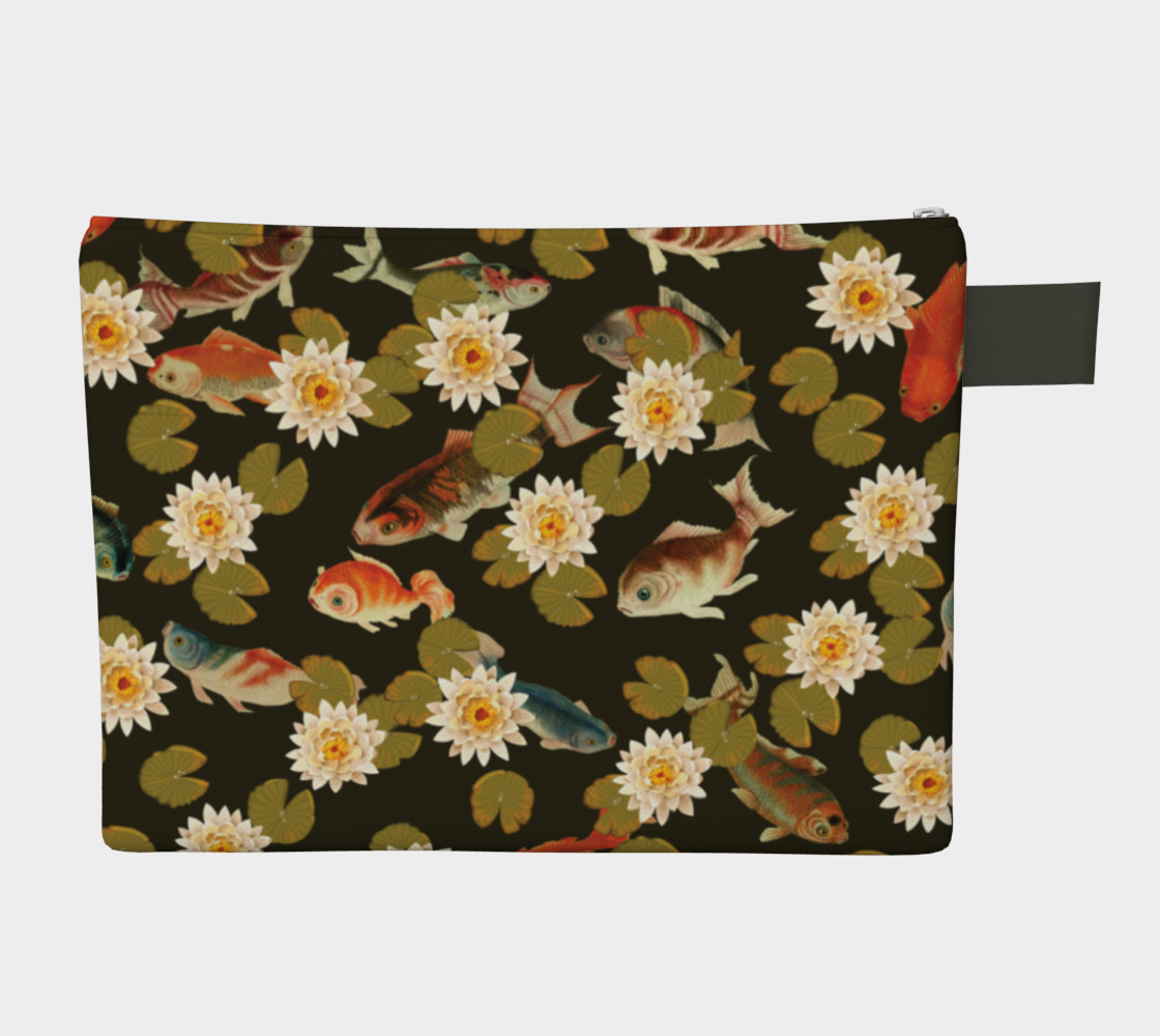 Koi & Lily Pads in Dark Water - Zipper Carry-all preview #2