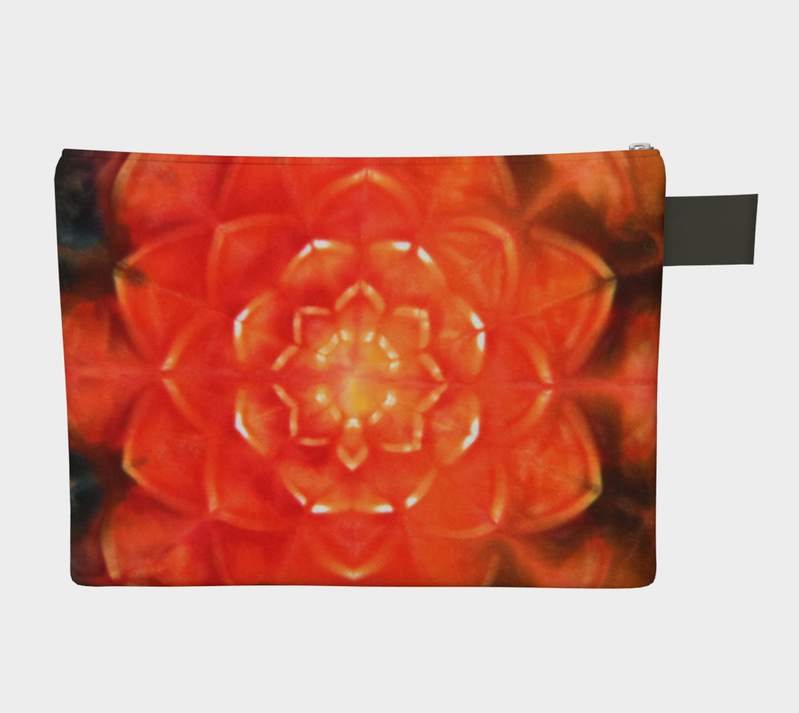 Aperçu de Orange Lotus Zipper Pouch #2