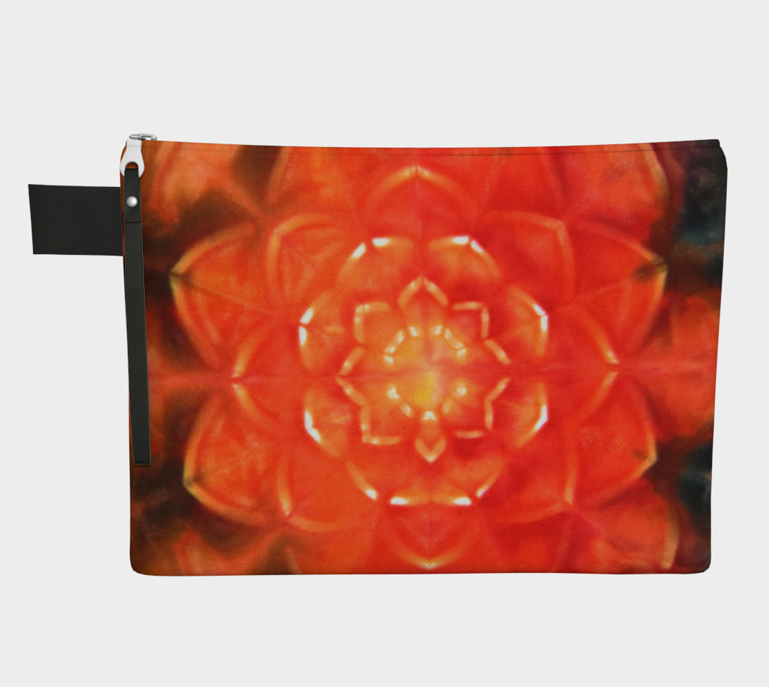 Aperçu de Orange Lotus Zipper Pouch #1