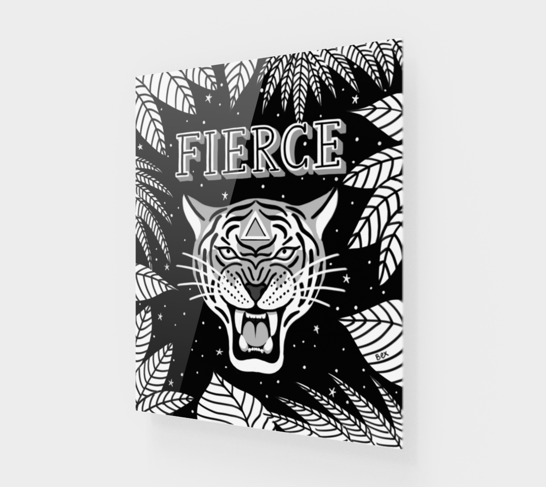 FIERCE Tiger. Motivational, hand-lettered art. 16 x 20. Black and white. preview