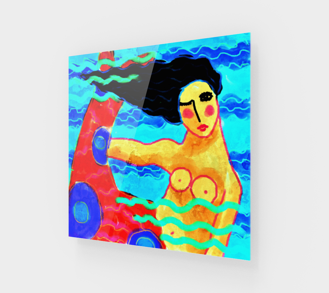 Funky Abstract Mermaid Art Print preview