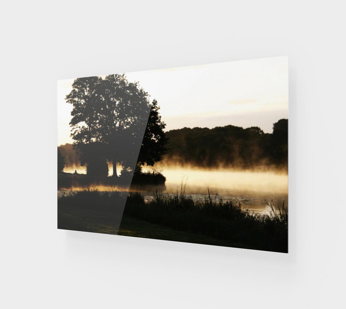 Morning Lake Scene Wood Print preview