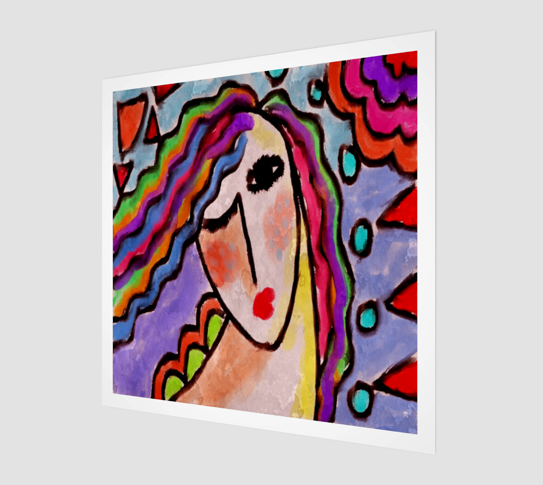 Colorful Abstract Portrait of a Woman Canvas Print preview