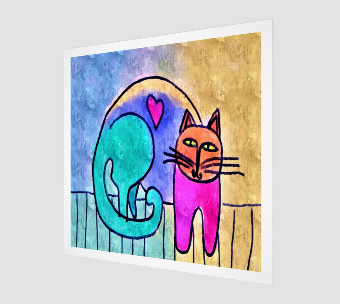 Aperçu de Kitty Love Abstract Digital Print on Canvas