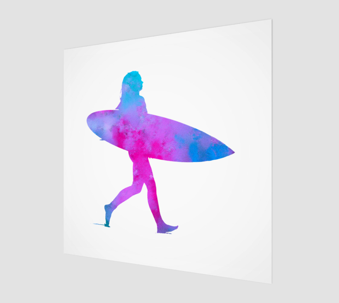 Pink and Blue Surfer Girl preview