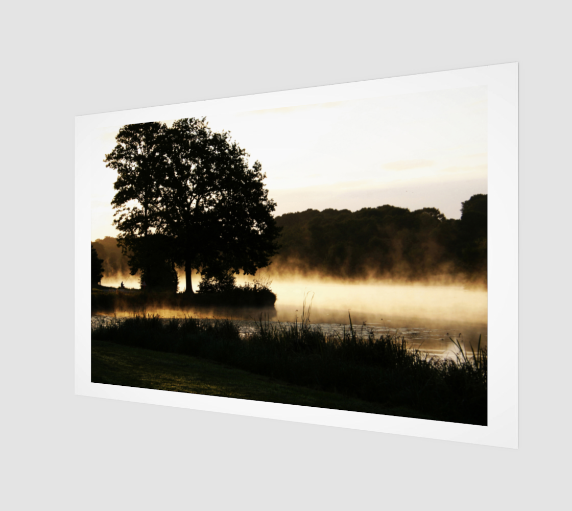 Morning Lake Scene Wood Print preview