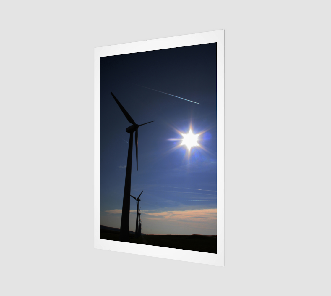 Windfarm and Blue Sky Wood Print preview
