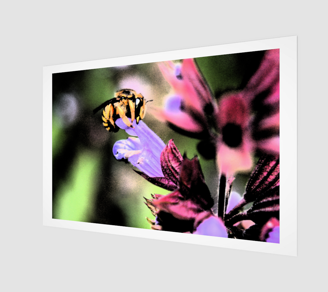 Bee and Flower Wood Print preview
