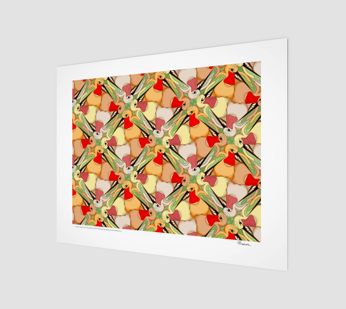 Hummingbird Square Dance, Danse des Colibris, a tessellation by Francine Champagne preview
