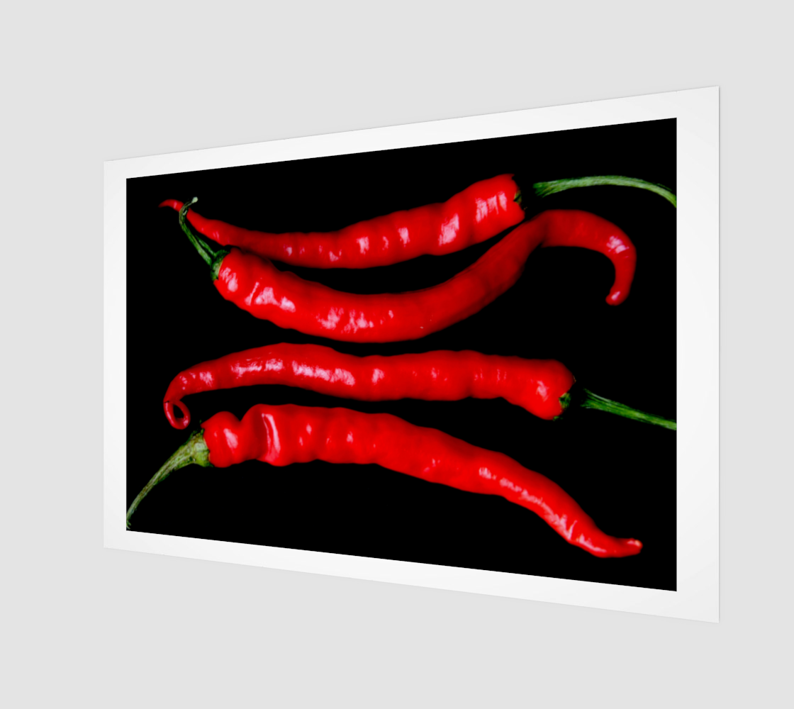 Four Red Chilies Wood Print preview