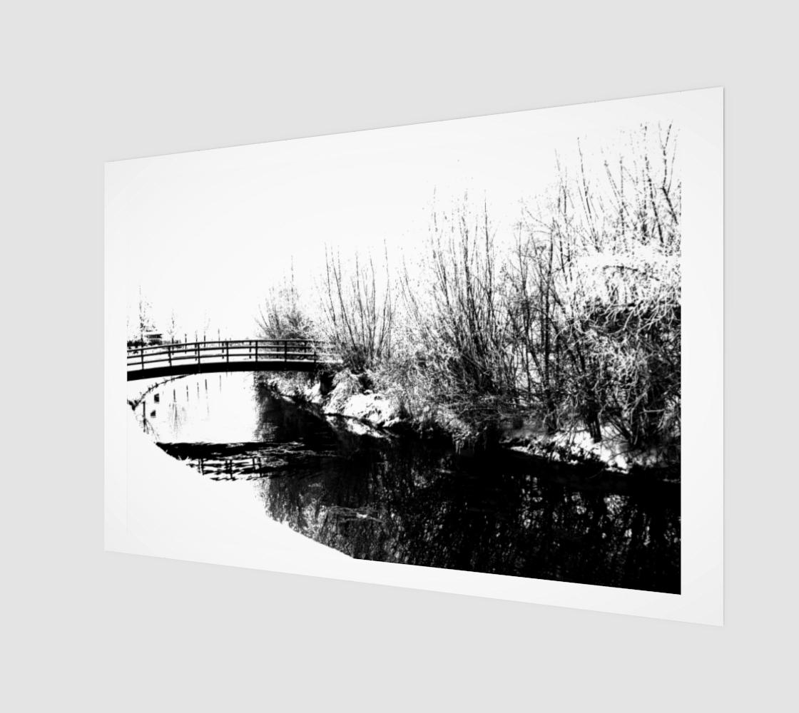 Bridge and Stream Winter Scene Art Print preview
