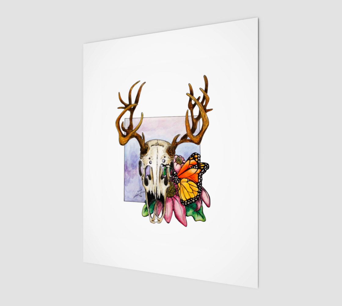 Deer Skull and Butterfly Art Print preview