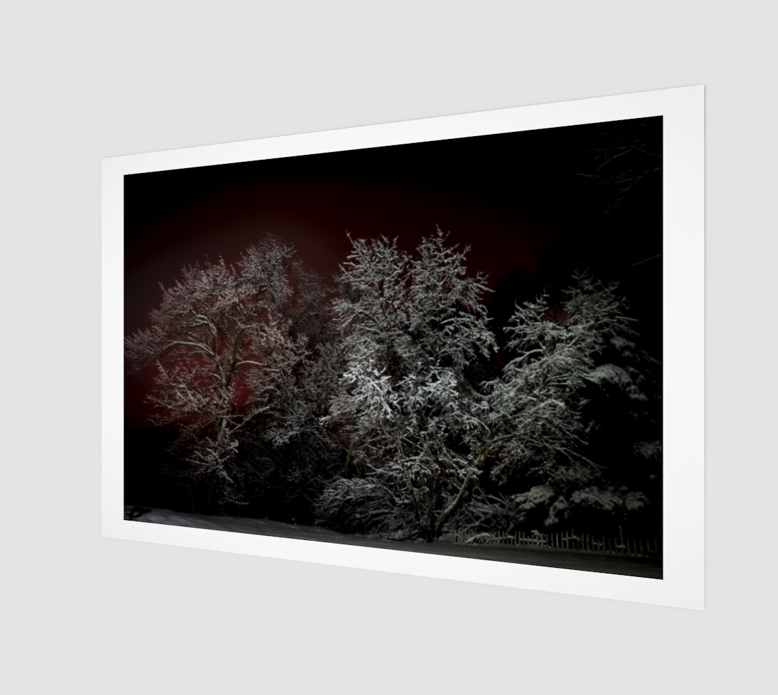 Trees in Snow Red Sky preview