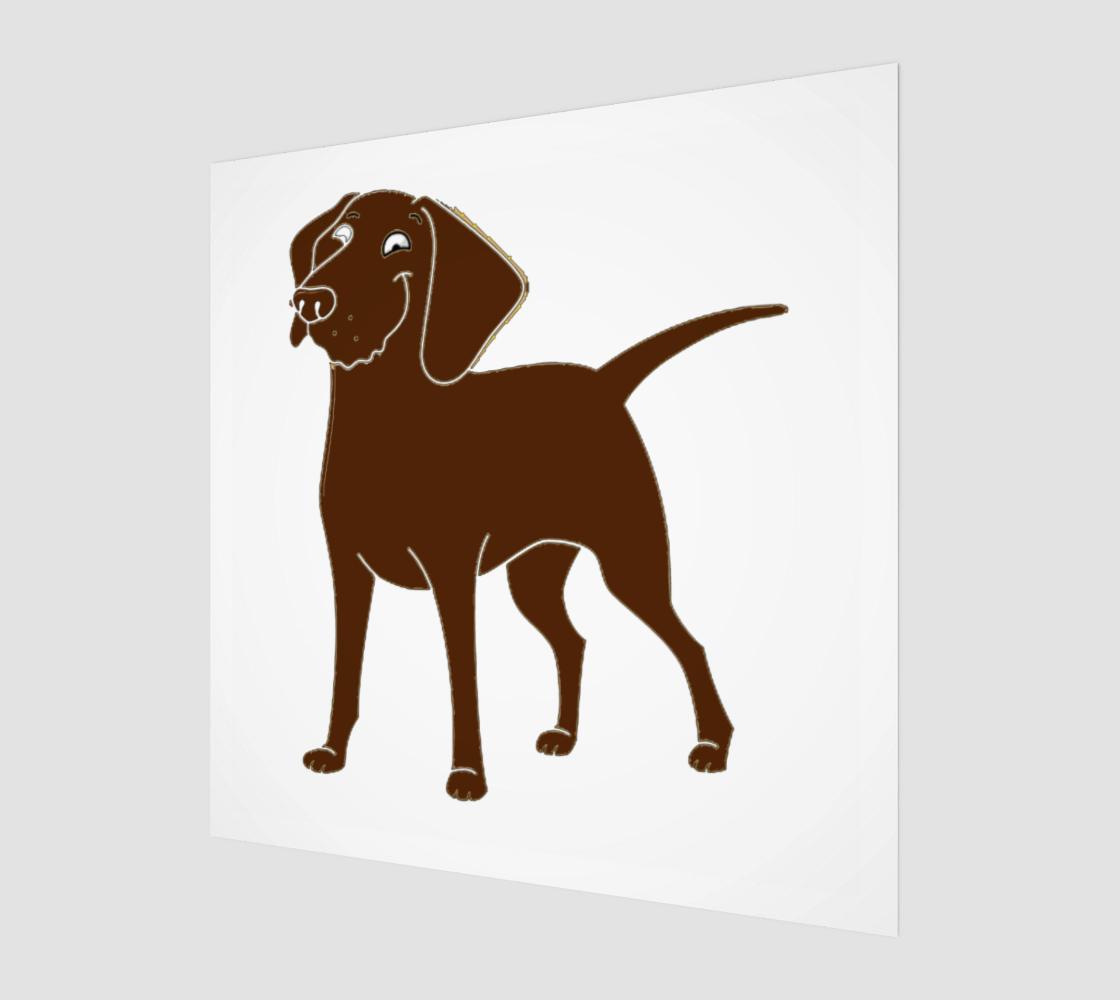 Labrador Retriever chocolate cartoon poster wood print preview