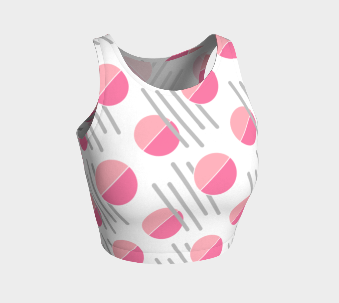 Modern Pink Circle Grey Line Abstract Athletic Crop Top preview