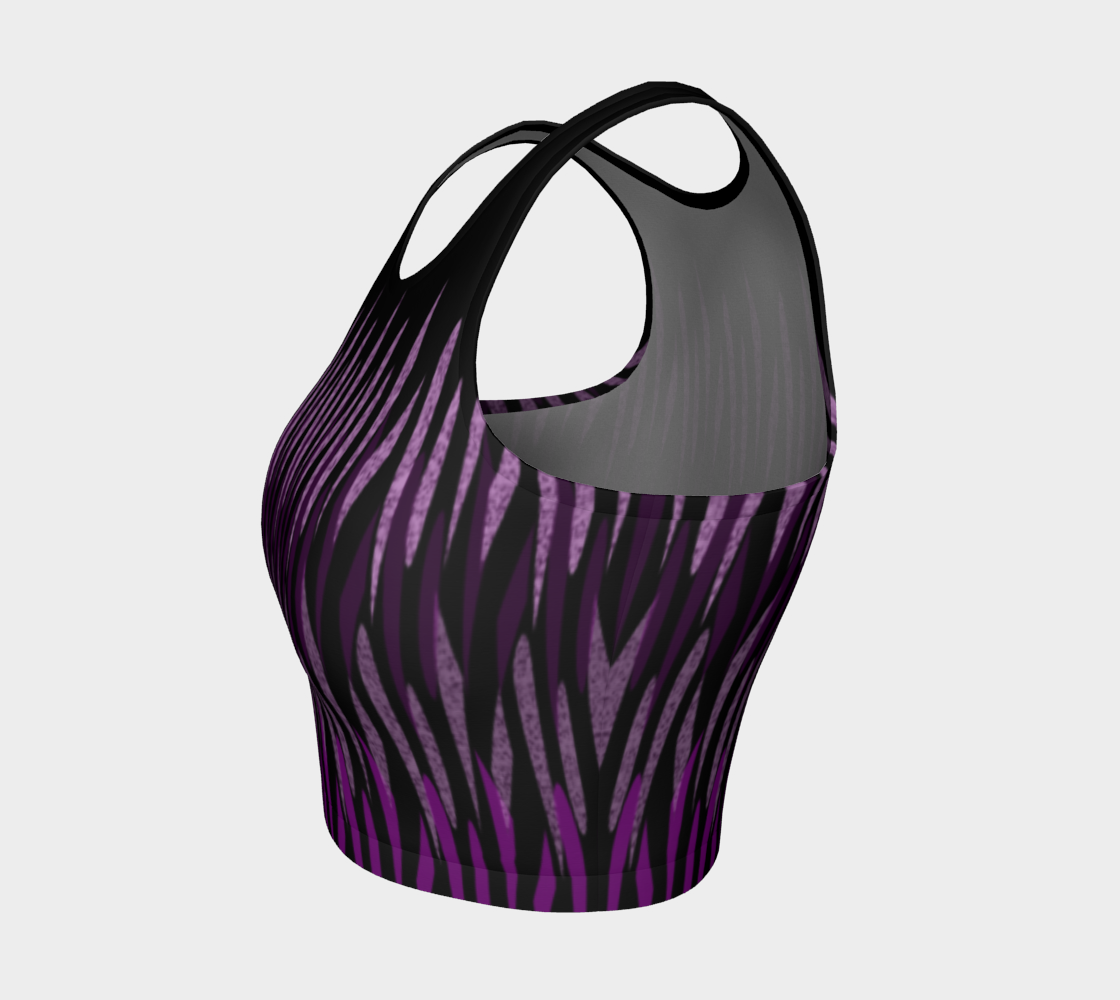 Purple Ice Abstract Athletic Crop Top preview #3
