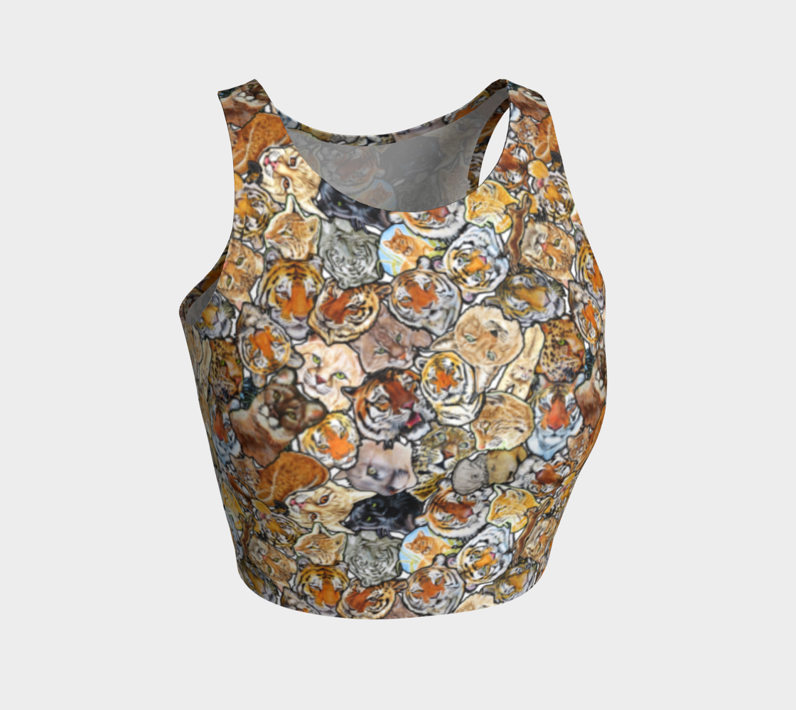 Big Cat Collage - athletic crop top preview