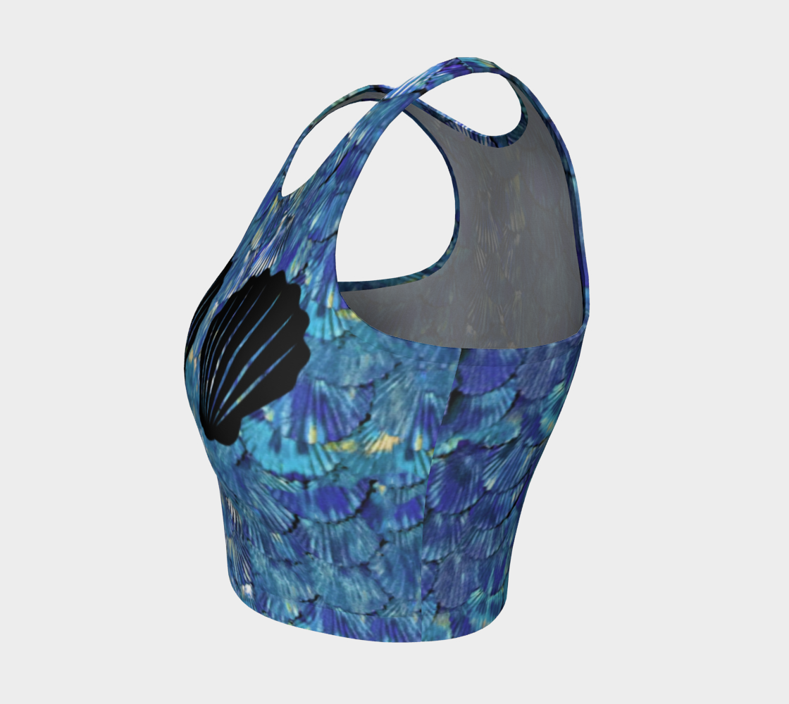 Blue Mermaid Scale Crop Top With Shells preview #3